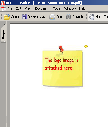 Snapshot 2: The file attachment annotation sports a customized push-pin icon