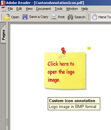 Snapshot 3: The custom icon changes with user interaction